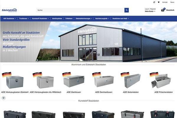 Screenshot des neuen Shops von Edelstahlhaus