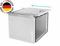 ADE Schubdeckelkasten Alu Riffelblech 600 x 400 x 400 mm, Werkzeugkasten, Staukasten, Staubox, Unterflurbox