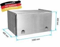 ADE Schubdeckelkasten Alu Riffelblech 1000 x 400 x 400 mm, Werkzeugkasten, Staukasten, Staubox, Unterflurbox
