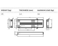 Daken HH473 - Horizontaler Halter - Magnelis-Stahl - Groß