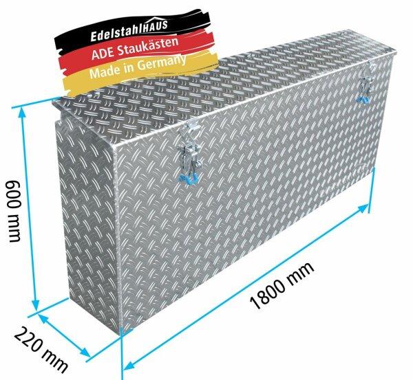 ADE Seitenkasten Alu Riffelblech 1800 x 220 x 600 mm, Staukasten, Staubox, Zubehör Pferdeanhänger
