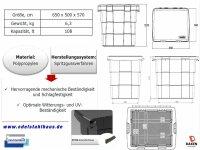 Daken Pitbox PB108 mit Verschluss, Streugutbox, Streugutkiste, Lagerbox, Streugutbehälter, Streusalzbehälter, Transportbox, Salz Box, ca. 108 Liter
