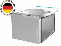 ADE Schubdeckelkasten Edelstahl, Deckel poliert 600 x 400 x 400 mm, Werkzeugkasten, Staukasten, Staubox, Unterflurbox