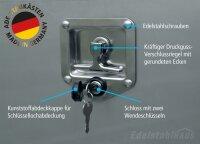 ADE Busdeckelkasten Edelstahl, Deckel poliert 600 x 600 x 600 mm, Werkzeugkasten, Staukasten, Staubox, Unterflurbox