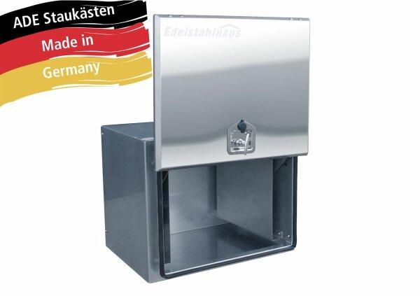 ADE Busdeckelkasten Edelstahl, Deckel poliert 600 x 500 x 500 mm, Werkzeugkasten, Staukasten, Staubox, Unterflurbox