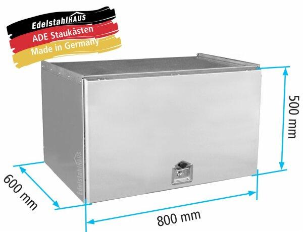 ADE Schubdeckelkasten Edelstahl 800 x 500 x 600 mm, Werkzeugkasten, Staukasten, Staubox, Unterflurbox