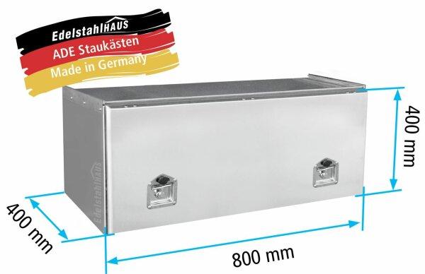 ADE Schubdeckelkasten Edelstahl 800 x 400 x 400 mm, Werkzeugkasten, Staukasten, Staubox, Unterflurbox