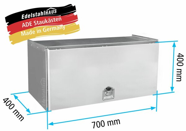 ADE Schubdeckelkasten Edelstahl 700 x 400 x 400 mm, Werkzeugkasten, Staukasten, Staubox, Unterflurbox