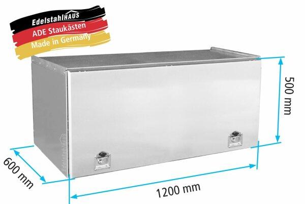 ADE Schubdeckelkasten Edelstahl 1200 x 500 x 600 mm, Werkzeugkasten, Staukasten, Staubox, Unterflurbox