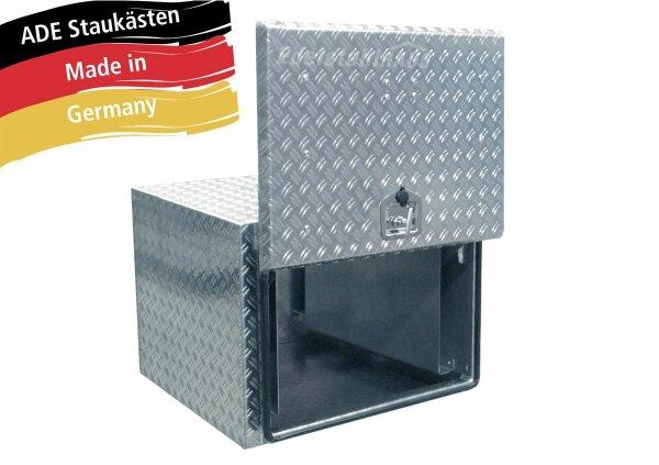 ADE Busdeckelkasten aus Alu Riffelblech 600 x 600 x 600 mm, Werkzeugkasten, Staukasten, Staubox, Unterflurbox