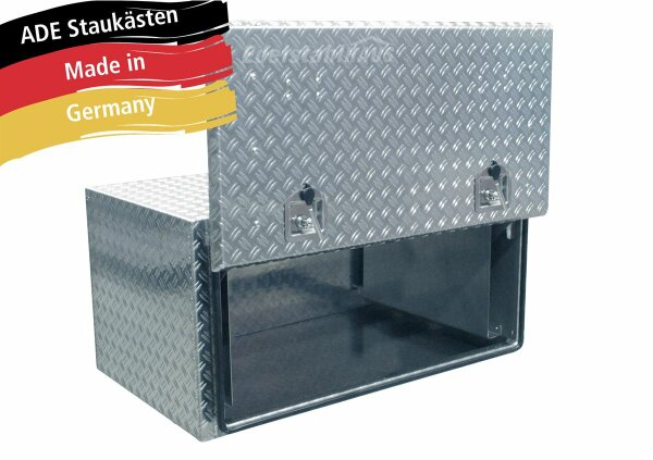ADE Busdeckelkasten aus Alu Riffelblech 1000 x 600 x 600 mm, Werkzeugkasten, Staukasten, Staubox, Unterflurbox