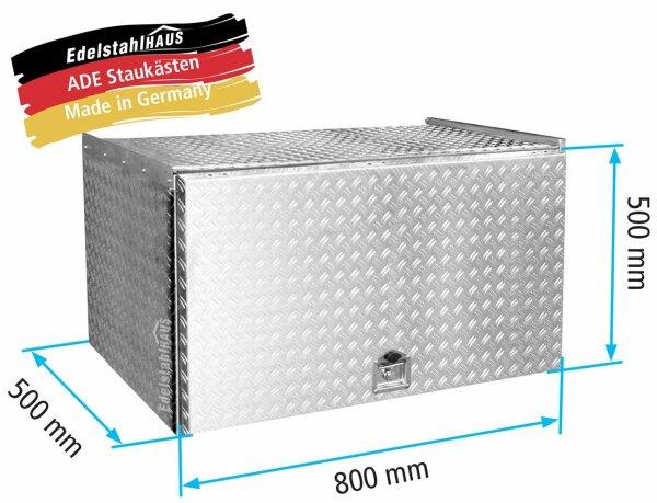 ADE Schubdeckelkasten Alu Riffelblech 800 x 500 x 500 mm, Werkzeugkasten, Staukasten, Staubox, Unterflurbox