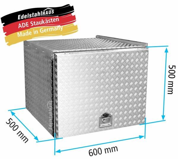 ADE Schubdeckelkasten Alu Riffelblech 600 x 500 x 500 mm, Werkzeugkasten, Staukasten, Staubox, Untreflurbox