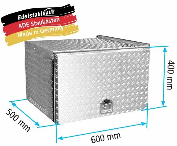 ADE Schubdeckelkasten Alu Riffelblech 600 x 400 x 500 mm, Werkzeugkasten, Staukasten, Staubox, Unterflurbox