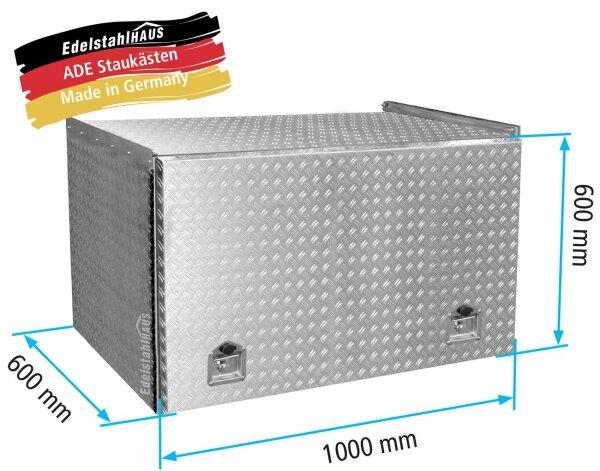 ADE Schubdeckelkasten Alu Riffelblech 1000 x 600 x 600 mm, Werkzeugkasten, Staukasten, Staubox, Unterflurbox