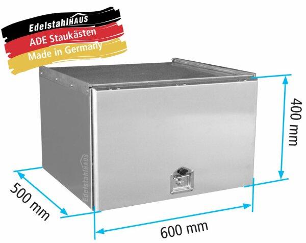 ADE Schubdeckelkasten Edelstahl 600 x 400 x 500 mm, Werkzeugkasten, Staukasten, Staubox, Unterflurbox