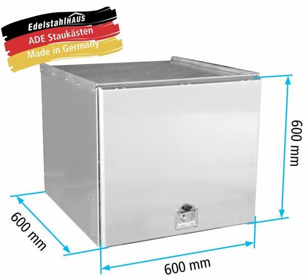 ADE Schubdeckelkasten Edelstahl 600 x 600 x 600 mm, Werkzeugkasten, Staukasten, Staubox, Unterflurbox