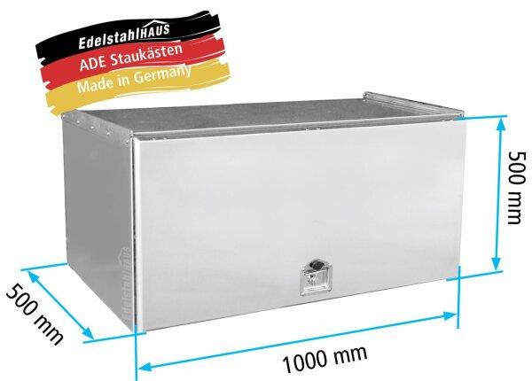 ADE Schubdeckelkasten Edelstahl 1000 x 500 x 500 mm, Werkzeugkasten, Staukasten, Staubox, Unterflurbox