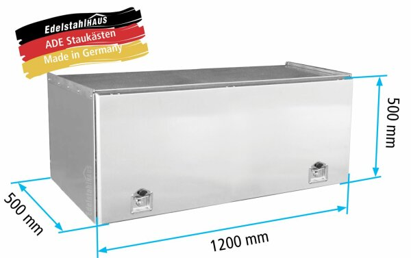 ADE Schubdeckelkasten Edelstahl 1200 x 500 x 500 mm, Werkzeugkasten, Staukasten, Staubox, Unterflurbox