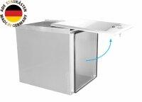 ADE Schubdeckelkasten Edelstahl, Deckel poliert 400 x 600 x 600 mm, Werkzeugkasten, Staukasten, Staubox, Unterflurbox