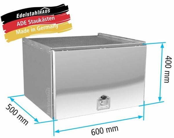 ADE Schubdeckelkasten Edelstahl, Deckel poliert 600 x 400 x 500 mm, Werkzeugkasten, Staukasten, Staubox, Unterflurbox