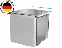 ADE Schubdeckelkasten Edelstahl, Deckel poliert 600 x 500 x 500 mm, Werkzeugkasten, Staukasten, Staubox, Unterflurbox