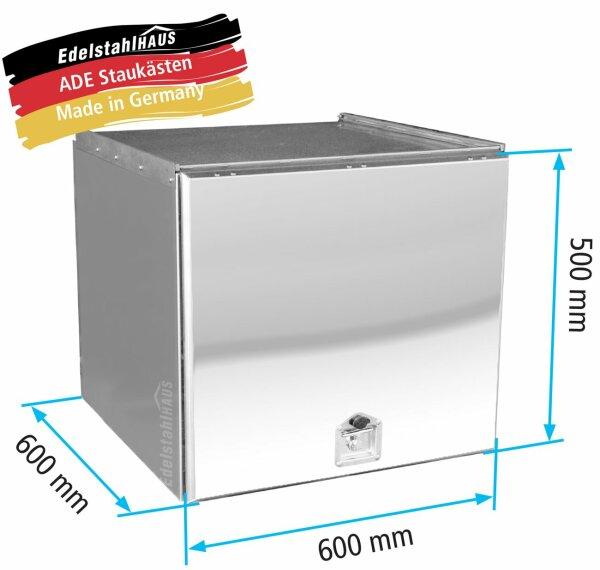 ADE Schubdeckelkasten Edelstahl, Deckel poliert 600 x 500 x 600 mm, Werkzeugkasten, Staukasten, Staubox, Unterflurbox