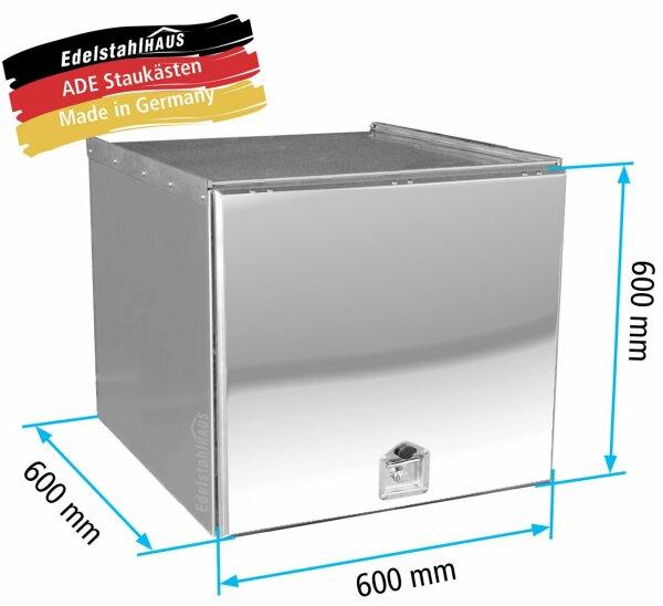 ADE Schubdeckelkasten Edelstahl, Deckel poliert 600 x 600 x 600 mm, Werkzeugkasten, Staukasten, Staubox, Unterflurbox