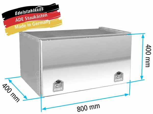 ADE Schubdeckelkasten Edelstahl, Deckel poliert 800 x 400 x 400 mm, Werkzeugkasten, Staukasten, Staubox, Unterflurbox