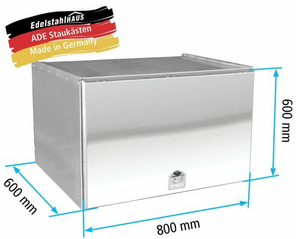 ADE Schubdeckelkasten Edelstahl, Deckel poliert 800 x 600 x 600 mm, Werkzeugkasten, Staukasten, Staubox, Unterflurbox