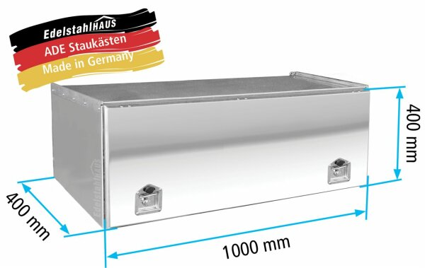 ADE Schubdeckelkasten Edelstahl, Deckel poliert 1000 x 400 x 400 mm, Werkzeugkasten, Staukasten, Staubox, Unterflurbox