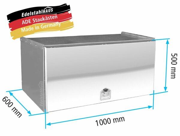 ADE Schubdeckelkasten Edelstahl, Deckel poliert 1000 x 500 x 600 mm, Werkzeugkasten, Staukasten, Staubox, Unterflurbox