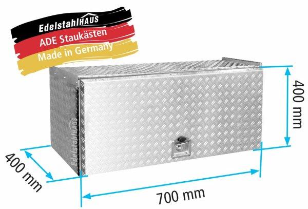 ADE Schubdeckelkasten Alu Riffelblech 700 x 400 x 400 mm, Werkzeugkasten, Staukasten, Staubox, Unterflurbox