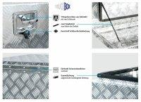 Truckbox U054 Unterflurkasten, Werkzeugkasten, Staukasten, Alu Riffelblech, Anhängerkiste - ca 54 Liter